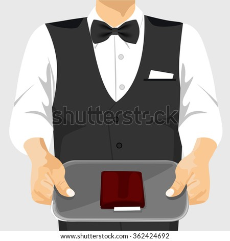 waiter holding a tray with a check on it - stock vector