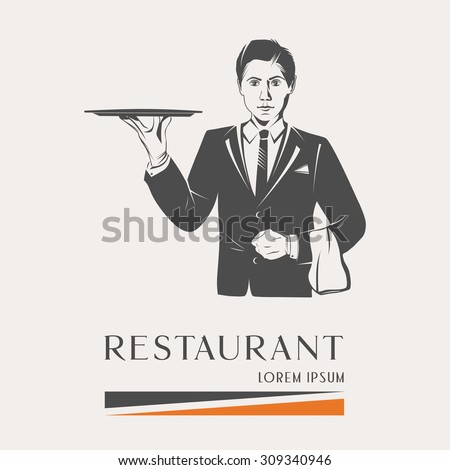 Waiter holds a tray isolated against background, vector vintage illustration of waiter with retro sign of restaurant - stock vector