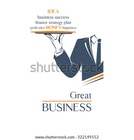 Waiter holds a tray over white background. Great business idea sign. Simple vector illustration logo, isolated. Classic banner or label for any business.  - stock vector