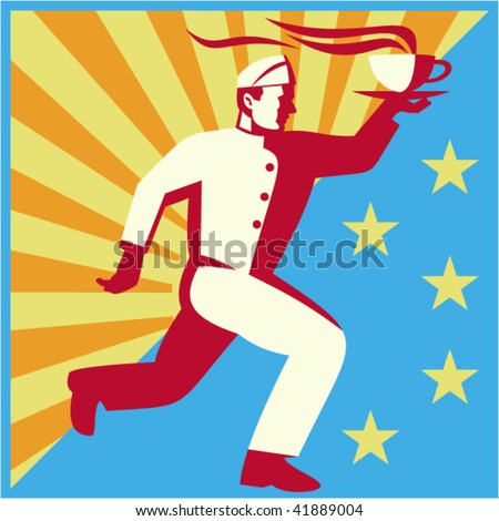 waiter or chef cook running serving hot drink or coffee with sunburst and stars in the background. - stock vector