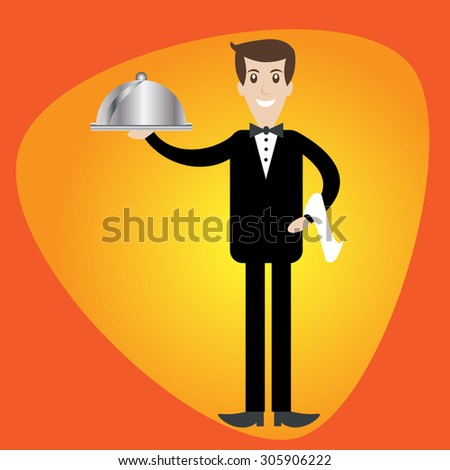 Waiter serving a meal under a silver cloche illustration - stock vector