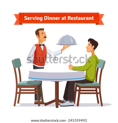 Waiter serving a silver dish with lid to a customer. Flat style illustration or icon. EPS 10 vector. - stock vector