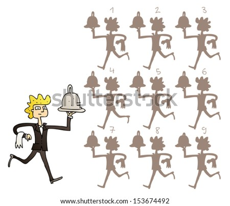 Waiter Shadows Visual Game. Task: find the right shadow image! Answer: No. 6. Illustration is in eps8 vector mode! - stock vector