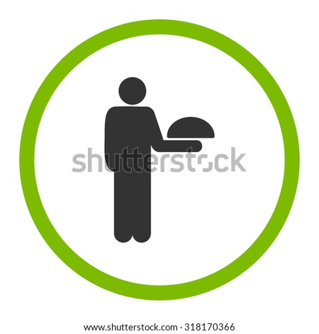 Waiter vector icon. This rounded flat symbol is drawn with eco green and gray colors on a white background.