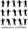 Waiter vector silhouettes - stock photo