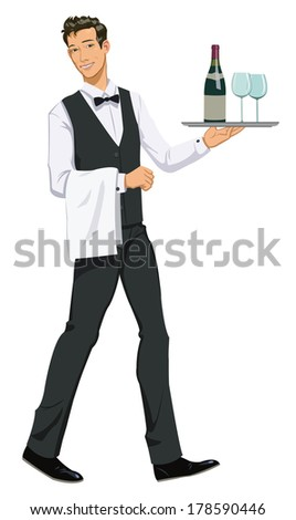 waiter with a tray - stock vector