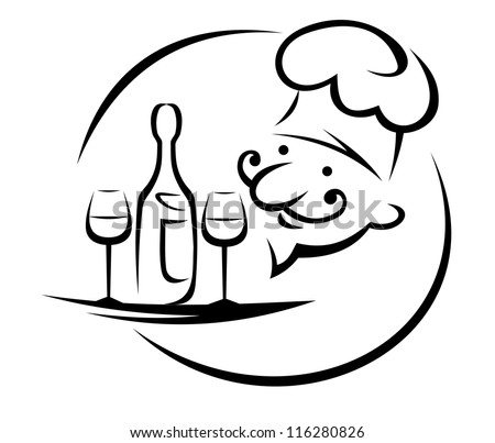 Waiter with champagne and glasses on tray, such a logo template. Jpeg version also available in gallery - stock vector