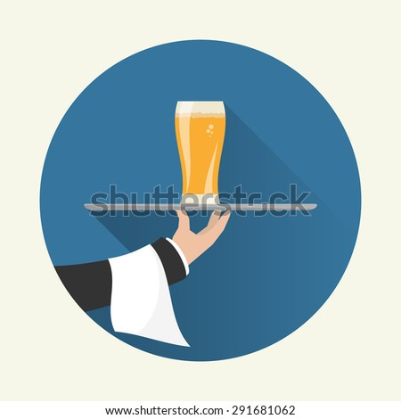 Waiter with glass of beer and tray on outstretched arm. Foods Service icon with long shadow. Simple flat vector. - stock vector