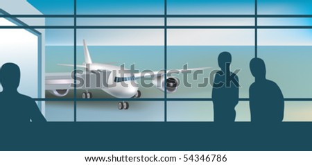 waiting area of airport - stock vector