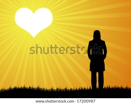 waiting for true love - stock vector