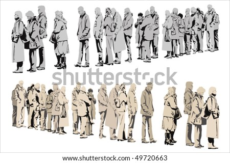 waiting people,  two color versions - stock vector