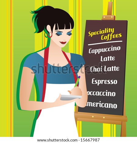 waitress with menu board. vector - stock vector