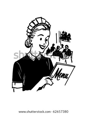 Waitress With Menu - Retro Clipart Illustration