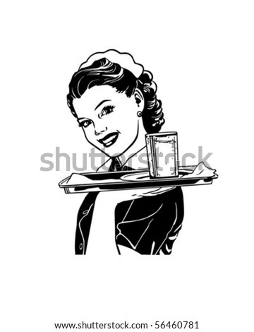 Waitress With Tray - Retro Clip Art - stock vector
