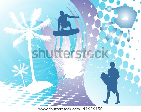wake-boarder silhouette on summer background - vector