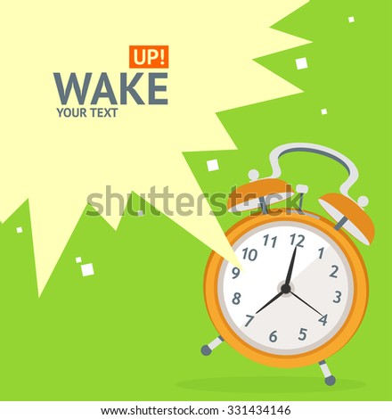Wake Up Clock Concept Card. Flat Design. Vector illustration - stock vector