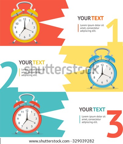Wake Up Clock Option Banner. Flat Design. Vector illustration - stock vector