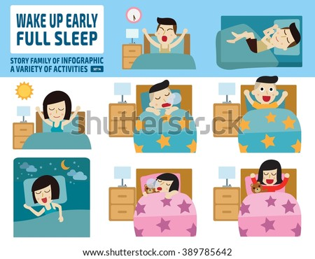 wake up early and full sleep.health care concept.infographic elements.flat cute cartoon design illustration. - stock vector