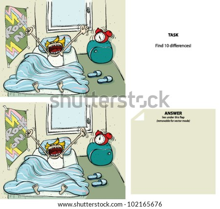 Waking up Cartoon Find 10 Differences (with solution) - stock vector