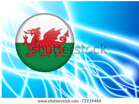 Wales Flag Button on Abstract Light Background Original Illustration