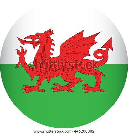 wales flag icon  - stock vector
