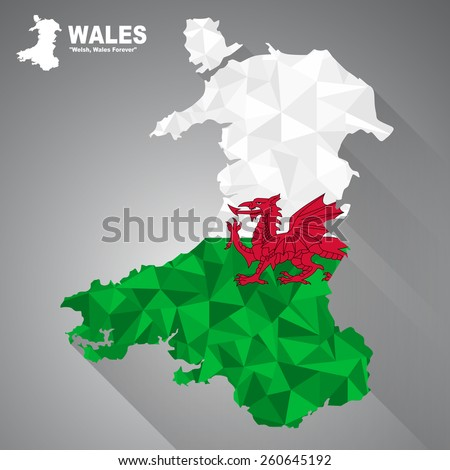 Wales flag overlay on Wales map with polygonal and long tail shadow style (EPS10 art vector)