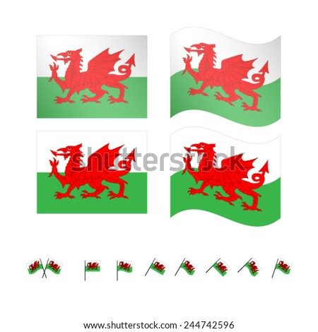Wales Flags EPS 10 - stock vector