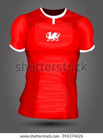 Wales soccer jersey - stock vector