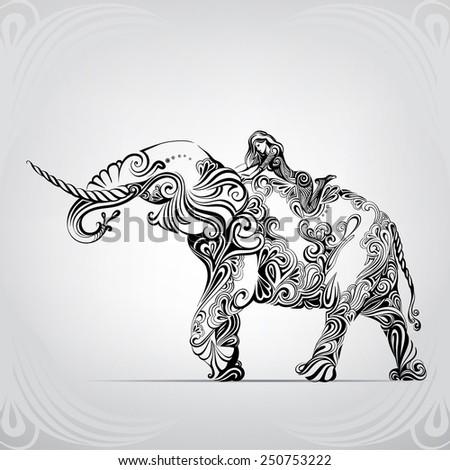 Walk astride an elephant - stock vector