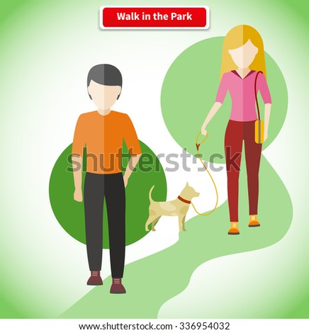 Walk in the park with dog concept. Walking in park, park walkway, outdoor walk, people lifestyle, pet animal, woman and man, path and couple illustration - stock vector
