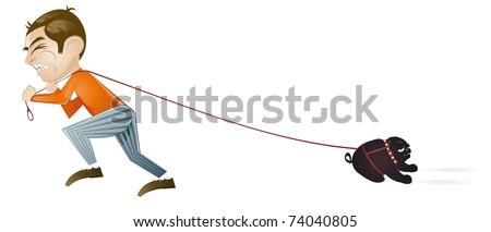 walk the dog cartoon - stock vector