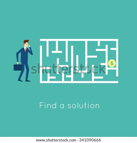 Walk the labyrinth to solve the problem. Flat design vector illustration. - stock vector