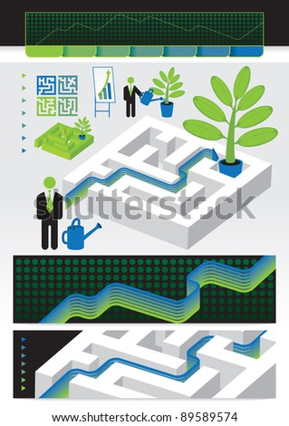 walk the labyrinth to win the financial - stock vector