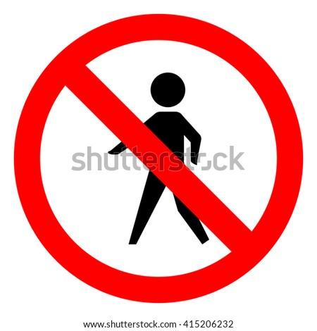 walk warning stop sign icon - stock vector
