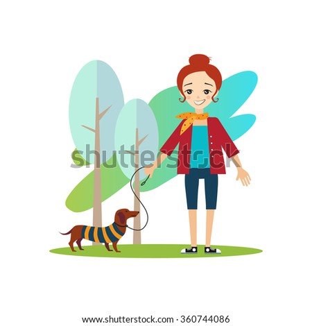Walking a Dog. Daily Routine Activities of Women. Colourful Vector Illustration
