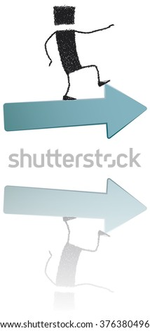 Walking above the arrow. A stick figure standing on an arrow pointing forward. A metaphor of progress, success. EPS10 file. - stock vector