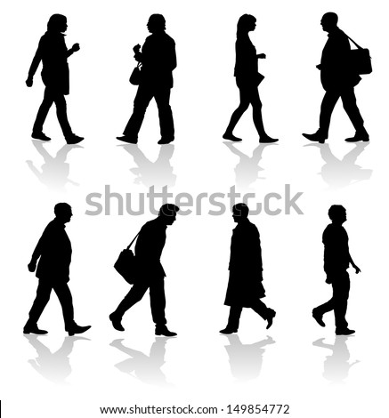 Walking Adults Silhouettes  - stock vector