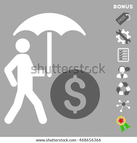 Walking Banker With Umbrella icon with bonus pictograms. Vector illustration style is flat iconic bicolor symbols, dark gray and white colors, silver background, rounded angles.