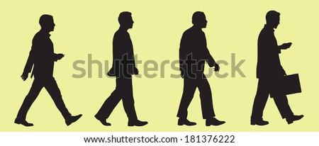 Walking Business Men Silhouette - stock vector
