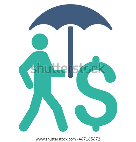Walking Businessman With Umbrella icon. Vector style is bicolor flat iconic symbol with rounded angles, cobalt and cyan colors, white background.