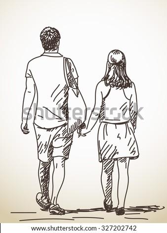 Drawing couple walking