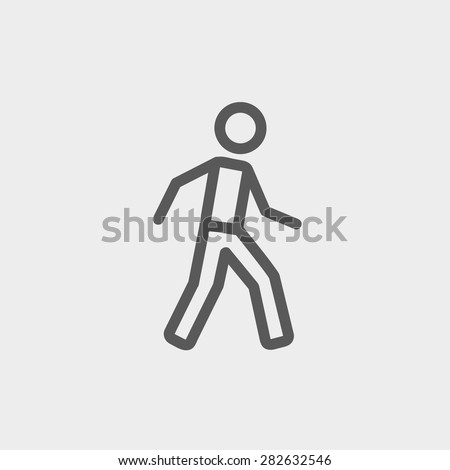 Walking exercise icon thin line for web and mobile, modern minimalistic flat design. Vector dark grey icon on light grey background. - stock vector