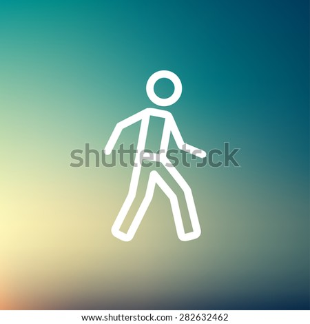 Walking exercise icon thin line for web and mobile, modern minimalistic flat design. Vector white icon on gradient mesh background. - stock vector