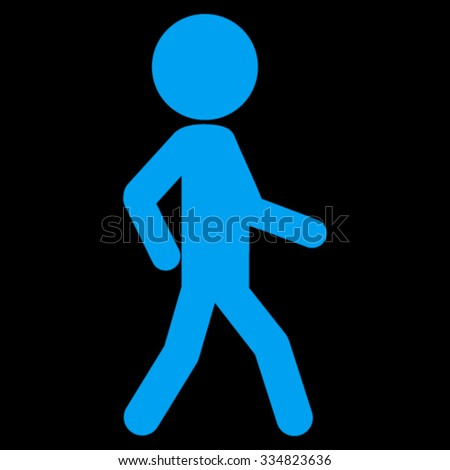Walking Guy vector icon. Style is flat symbol, blue color, rounded angles, black background. - stock vector