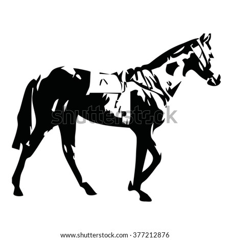 Walking horse, vector illustration - stock vector