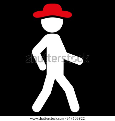 Walking Human Figure vector icon. Style is bicolor flat symbol, red and white colors, rounded angles, black background. - stock vector