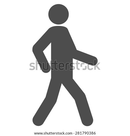 Walking icon from Man Poses Set. Style: monochrome gray icons, rounded corners, white background. - stock vector