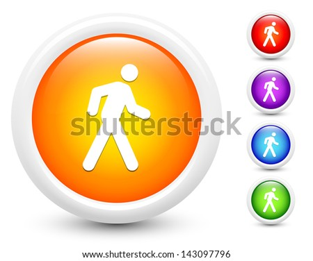 Walking Icons on Round Button Collection Original Illustration - stock vector