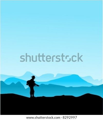 walking man over the mountains