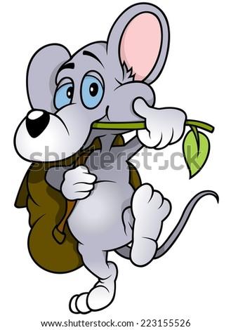 Walking Mouse - Cute Cartoon Animal, Vector Illustration - stock vector